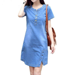 Korean Plus Size Denim Dress For Women Summer Dress 2020 Casual With Button Pocket Sexy Mini Jeans Dress 3xl 4XL BOodinerinle