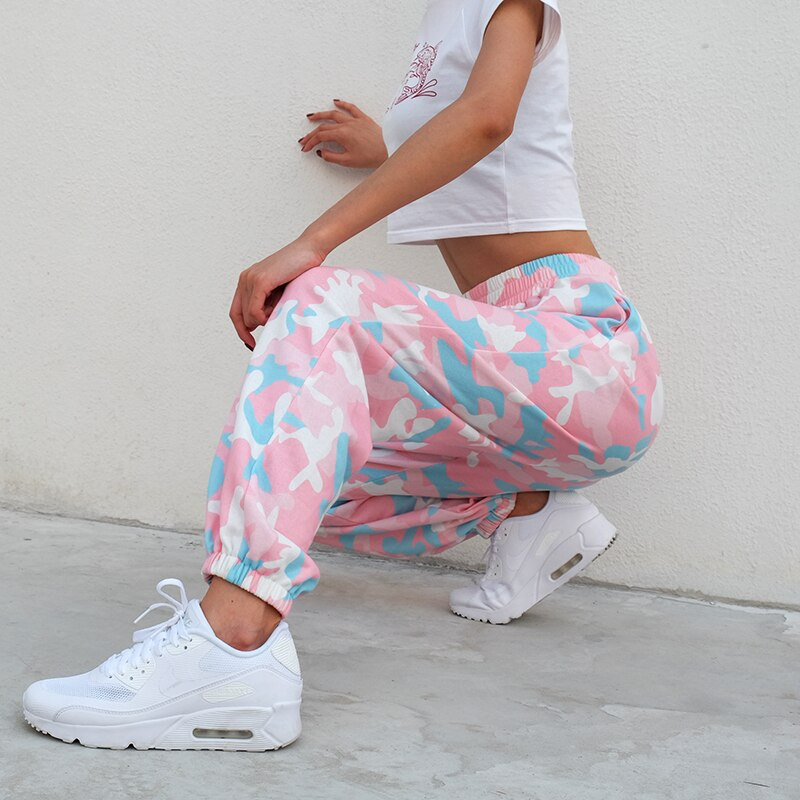 Weekeep Women Fashion Elastic Pants Streetwear Pencil Camo Pants High Waist Camouflage Sweatpants Women Spring Cotton Trousers