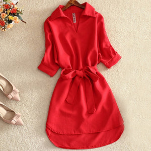 Shirts Women 2019 Summer Casual Dress Fashion Office Lady Solid Red Chiffon Dresses For Women Sashes Tunic Ladies Vestidos Femme