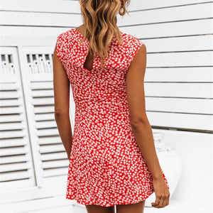 Summer dress women floral elastic sexy mini dress korean fashion vestidos women clothing high waist beach dresses 2019 New