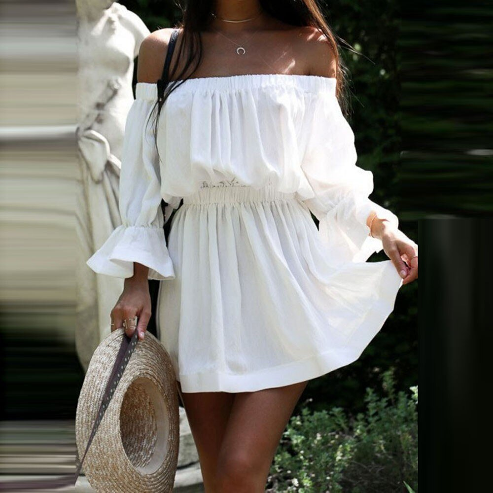 2019 Women Dresses Summer Flare Sleeve Off Shoulder Bandage Solid color Sundress Casual Sexy Holiday Dress W0619