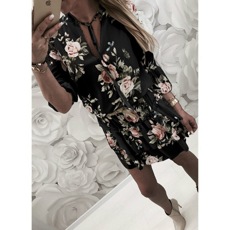 2019 Women Summer Dress Boho Style Floral Print Chiffon Beach Dress Tunic Sundress Loose Mini Party Dress Vestidos Plus Size 2XL
