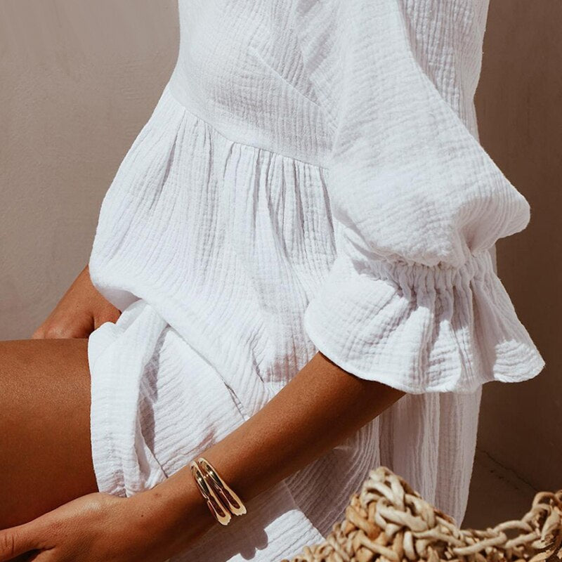 2020 Summer Women Solid Casual Loose Mini Dresses Ladies Ruffles Half Sleeve Shirt Party Dress New Fashion Women Straight Dress
