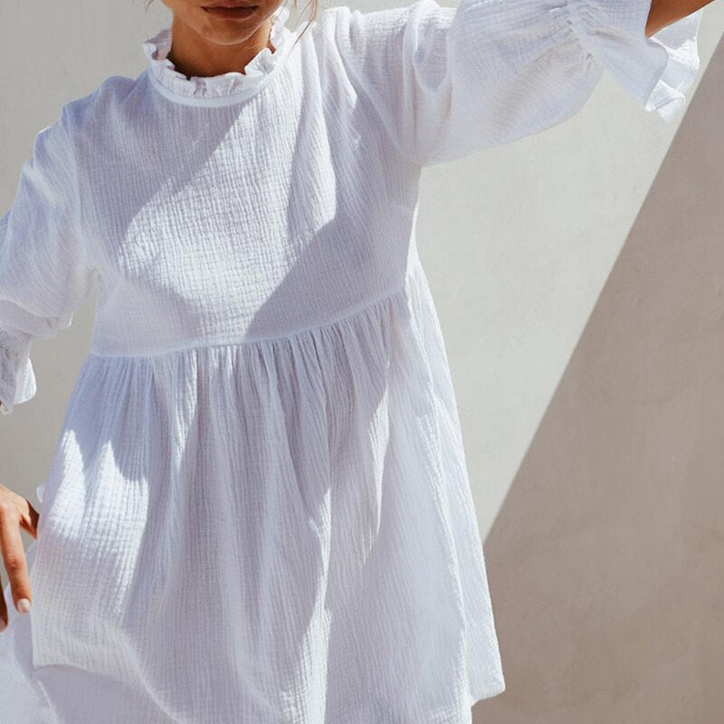 Women Ruffles Elastic Waist Loose Straight White Mini Dresses Half Sleeve Shirt Dress 2020 Autumn Fashion Woman Boho Sundress