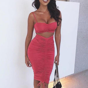 Articat Two Piece Sexy Pleated Party Dress Women Spaghetti Strap Backless Slinny Pencil Christmas Dress Casual Dress Vestidos