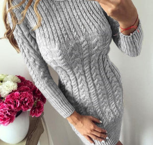 RUGOD 2020 New Autumn Winter Warm Sweater Dress Women Sexy Slim Bodycon Dress Female O neck Long Sleeve Knitted Dress Vestidos