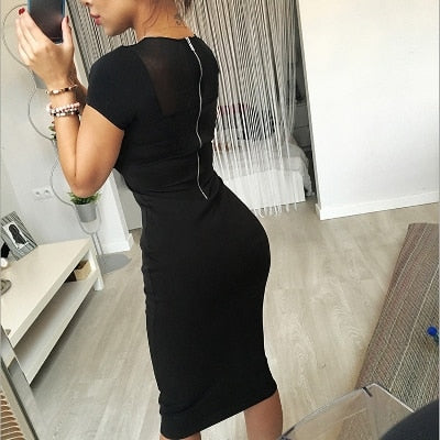 Hot 2019 Women Summer Dress Fashion Yarn Splicing Back Zipper Short Sleeved Knee Office O-Neck Sexy Women's Dresses Plus Size