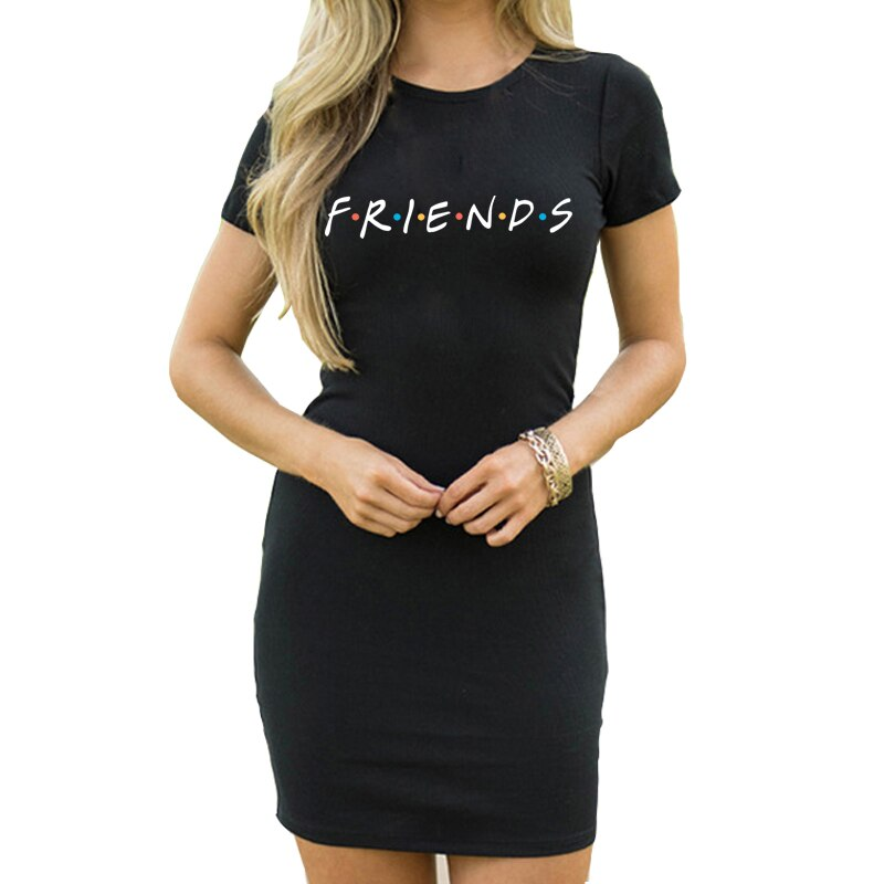 Ladies Friends Print Short Sleeve O-Neck Summer Casual Black Midi Dress Sexy Nightclub Party Casual Dating Dress
