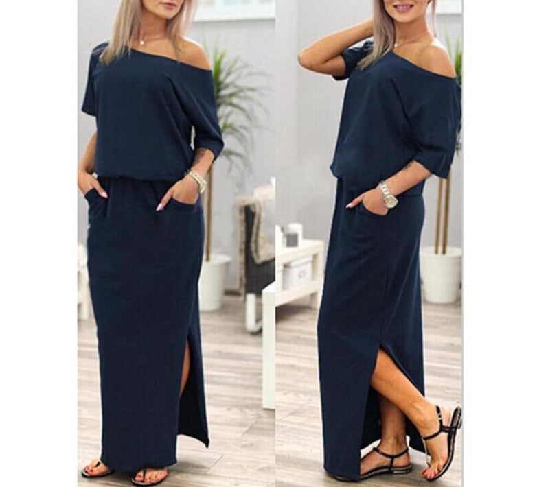 Hot Sale Women Boho Maxi Dress Sexy Summer Short Sleeve Side Slit Loose Evening Party Long Beach Dress with Pocket Vestidos