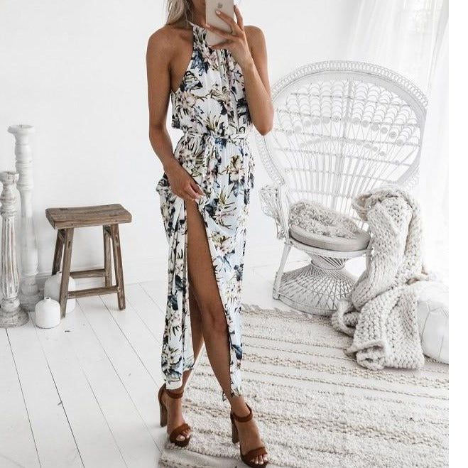 Women Long Maxi Dresses Bohemia Sleeveless Floral Print Ethnic Summer Beach Female Split Stylish Asymmetrical Dress Vestid
