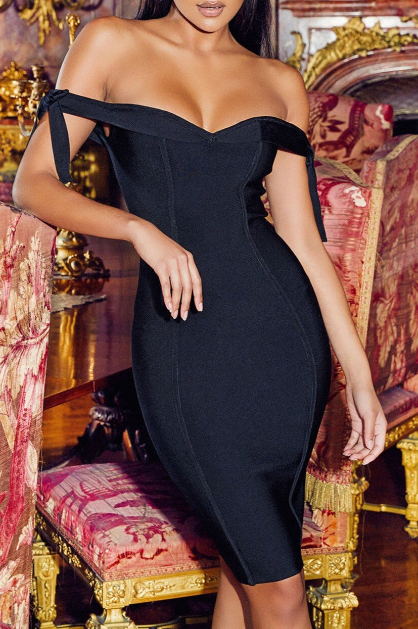 Runway Dress 2020 Bandage Dresses For Women Off Shoulder Bow Mini Bodycon Sleeveless Backless V-Neck Lace Up Sheath Elegant