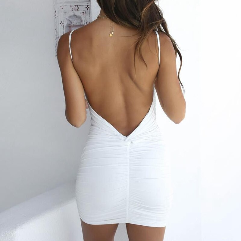 Hirigin Sexy Womens Summer Backless High Draped Slim Bandage Bodycon Evening Party Short Mini Dress