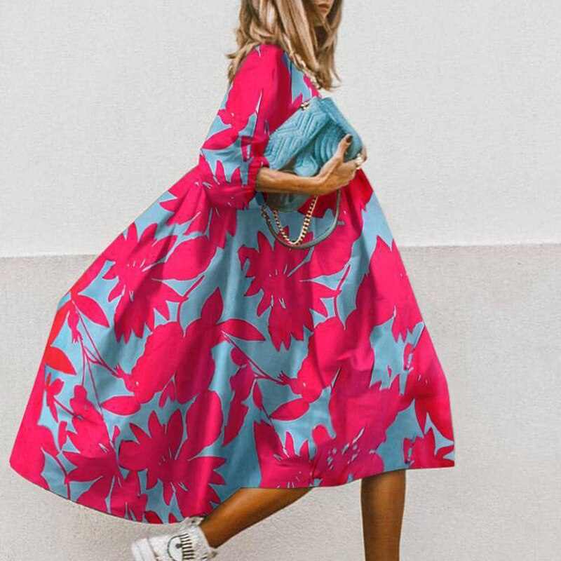 Summer Floral Leopard Print Half Sleeve Dress Women Casual O Neck Loose A-Line Dress Retro Elegant Female Party Dress Vestidos