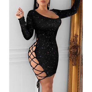 Fashion Women Sexy Bling Bodycon Mini Dress Long Sleeve Glitter Bandage Hollow out Lace Up Evening Party Club Ladies Dresses