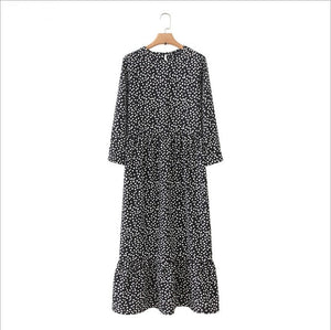Autumn Spring Ladies Polka Dot Print Long Dress Casual Pleated Three-quarter Sleeve Party Straight Dress Chic Ankle Vestidos XL
