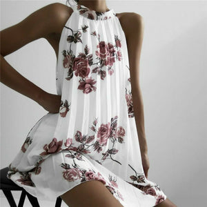 Fashion Women Boho Beach Summer Sleeveless Halter Floral Dress Elegant Off Shoulder Loose Sundress Ladies Dames Streetwear