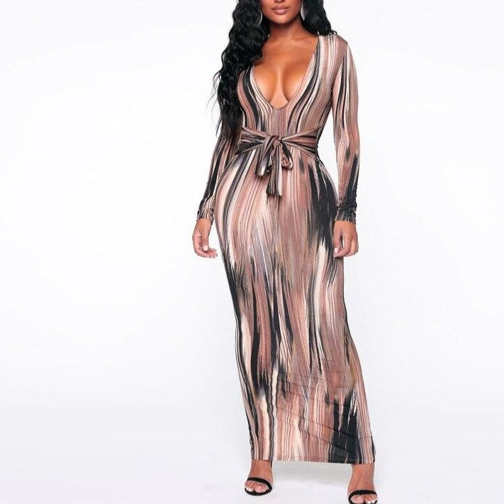 Simenual V Neck Bandage Bodycon Sexy Maxi Dresses Women Fashion Skinny Clubwear Printed Long Sleeve Party Dress Autumn 2019 Slim