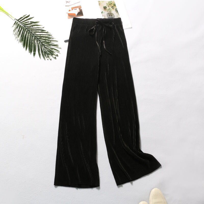 2020 casual nine minute pants New summer female pleated slouchy ice wide leg pant high waist hanging Loose Solid women kaguster