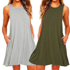 2020 Women's Summer Casual Swing T-Shirt Dresses Beach Cover up with Pockets Plus Size Loose T-shirt Dress