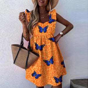 Elegant Butterfly Sleeve Ruffle Mini Dress Casual Square Collar Print Party Dress Women Summer Loose Pocket Beach Dress Vestidos