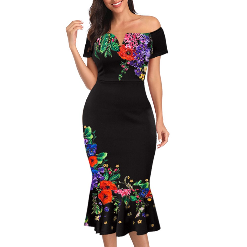 M-3XL Plus Size Women New Off-shoulder Female Printed Bodycon Dress Elegant Sexy Slim Party Formal Dress Midi Dress Big Size D30