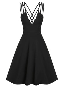Wipalo Plus Size Casual Dress Front Strappy Lace Up Mini Cami Dress Sleeveless Women Elegant Party Sexy Dress Robe Femme 3XL