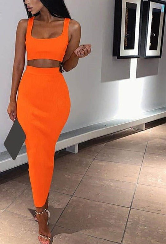 Missakso Two Piece Set Midi Dress Sleeveless Tank Club Fashion Party Summer Women Ribbed Dresses Neon Green Orange Pink