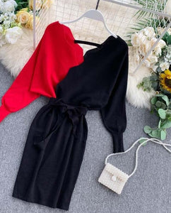 YuooMuoo Elegant Sashes V Neck Knit Dress Women 2020 Sexy Backless Autumn Long Sleeve Sweater Dress Ladies Bodycon Short Dress