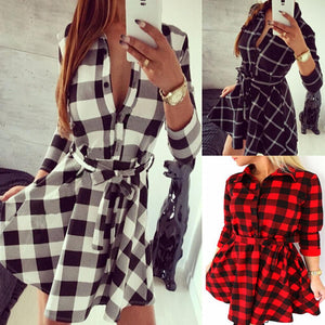 Autumn Spring Dress Women Casual Plaid Shirt Dress High Waist Charming Slim Dress Long Sleeve Mini Dress With Belt Vestidos