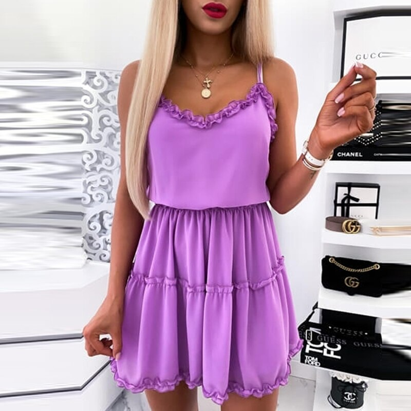 Elegant V-Neck Sleeveless Party Dress Women 2020 Summer Casual Loose Mini Dress Ladies Solid Color Short Pleated Dress Vestidos