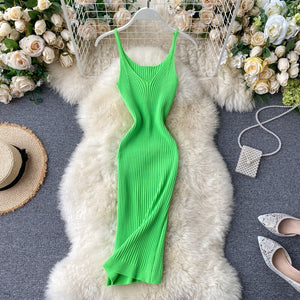 ALPHALMODA 2020 Summer Knitting Dress Women Solid Color Casual Body-con Dress Pullovers Simple Step Dress