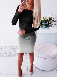 Office Lady Elegant Dress Womens New Long Sleeve Ladies Stretch Bodycon Plain Dress Long Tunic Gradient Dresses OL Clothes 2020