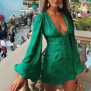 ArtSu Women's Satin Dresses Green Deep V Neck Botton Lantern Sleeve Mini Dress Sexy Female Party Dresses Club Autumn ASDR60551