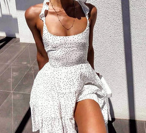 DICLOUD Polka Dot White Women's Summer Sundress Ruffle Backless Sexy Mini Party Dress Elegant Lace up Beach Clothes Female