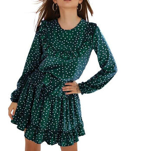 CVYATAYA Ladies Dot Print Ruffles Sashes A Line Dress Women Fashion Back Keyhole O Neck Long Sleeves Mini 2020 Autumn Dresses