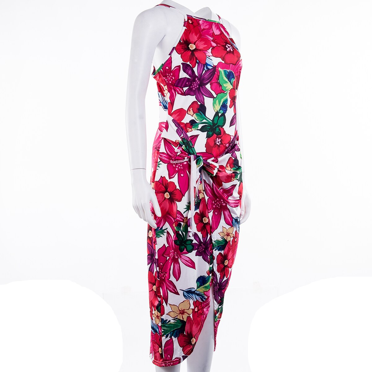 2020 Fashion Women Bohemian Floral Dress Summer Party Beach Holiday Sleeveless Sexy Slim Fit Dresses Sundress
