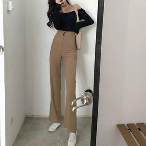Mazefeng 2019 New Autumn Women Casual Solid Straight Pants Ladies Button Slim Pants Female Wide Leg Pant Vintage Korean Style