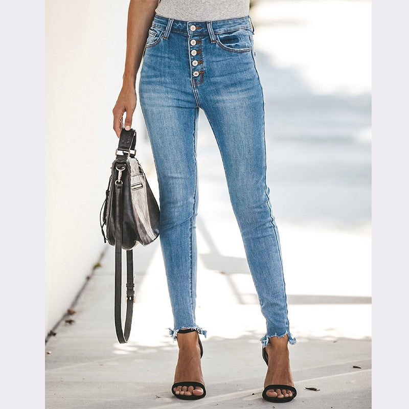 2020 Autumn Winter High Waist Jeans Stretch Ripped Jeans For Women Denim Skinny Jeans Mom Plus Size Multi-breasted Pencil Pant