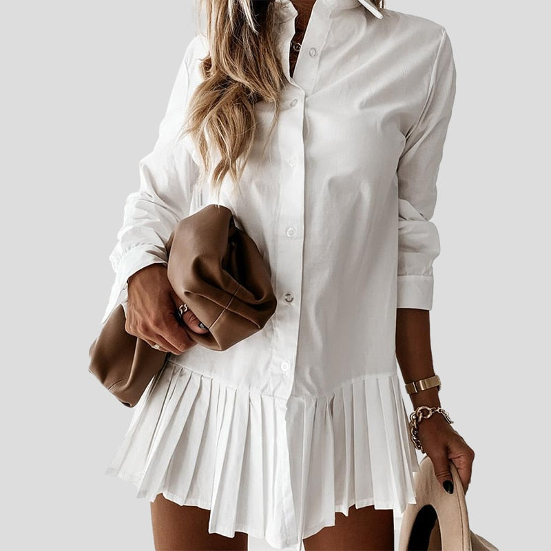 Autumn Long Sleeve White Pleated Shirt Dress 2020 Women Casual Turn Down Collar Mini Dress Button Lady A Line Office Vestidos