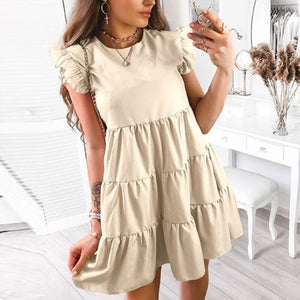 Elegant Dot Print Summer Dress Casual Women Ruffle Short Sleeve Party Dress Vintage Sexy V Neck A-Line Beach Dress Vestidos 3XL
