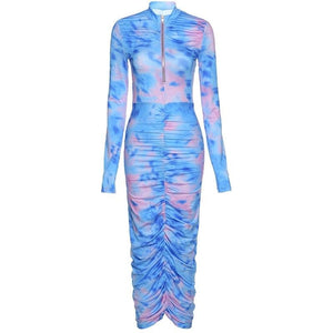 Kliou women tie dye print long sleeve bodycon dress ruched fitness skinny zipper colorful fashion vestido de mujer streetwear