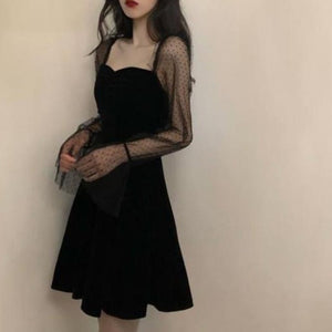 Black Dress Lace Sexy Gothic Vintage Dress Women Elegant Evening Party Club A line Puff sleeve Vestidos