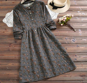 Mori Girl Autumn Spring Women Loose Dress Stand Collar Floral Printed Cotton Linen Baggy Dress Wine Red Dark Gray Vintage Dress