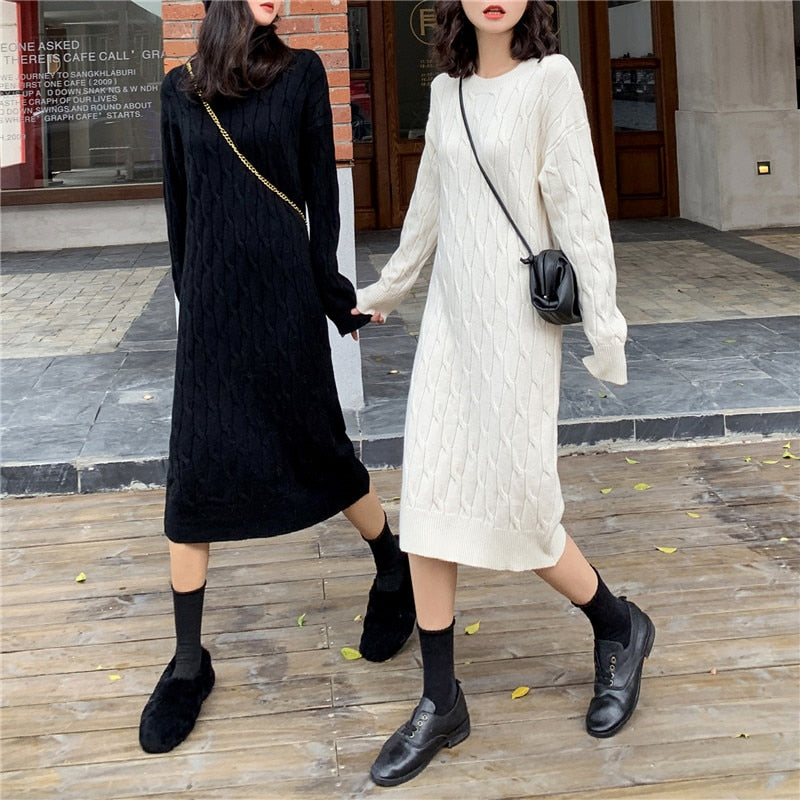 Mozuleva New 2020 Autumn Winter Women Dresses Knitted Korean Style Fashionable Oversize Warm Elegant Lady Midi Dress