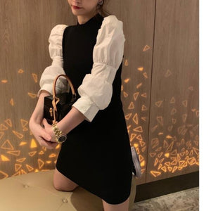 Trend Colorblock Long Sleeve Package Hip Mini Dress Sweet Women Loose Casual Puff Sleeve Pullover Sweater Dresses