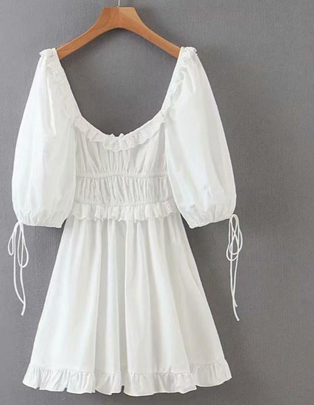 Sexy Lace Trims Elegant White Dress Women Lantern Sleeve Square Neck A-line Mini Summer Party Dresses Short vestido LJPZ9268