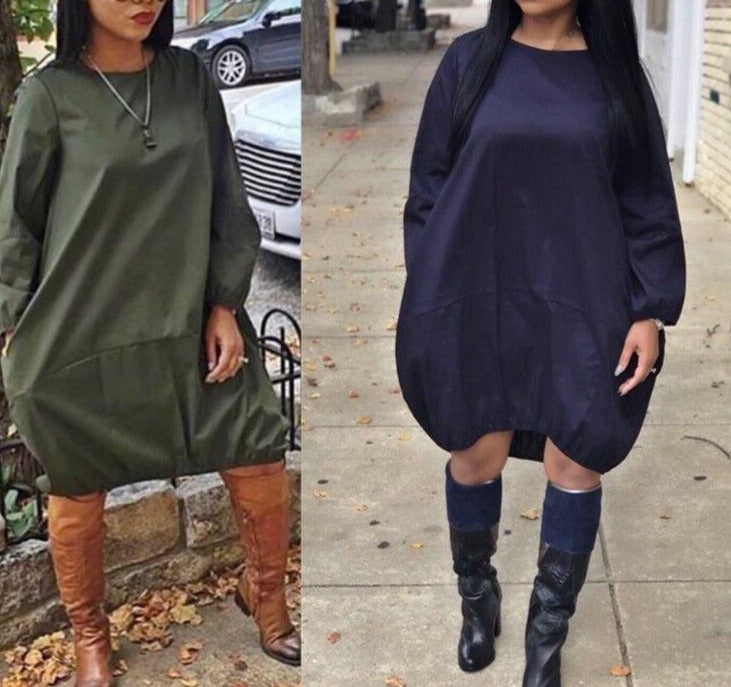 Plus Size Loose Casual Dress Women Streetwear Oversized T Shirt Dress Long Sleeve Knee Length Solid Pockets Autumn Midi Dress