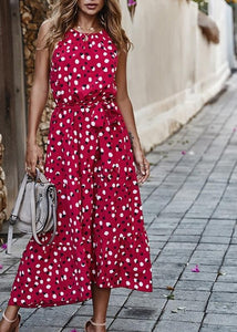 Summer Women Polka-Dot Long Dress Beach Dresses Strapless Casual White Midi Sundress 2020 Red Summer Vacation Clothes For Women