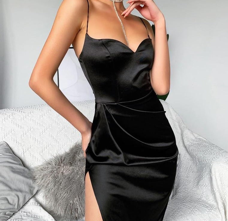 WannaThis Black Silk Dress Women Sexy V-Neck Sleeveless Hight Split Hem Knee-Length Strap Dress Slim Summer Party Dresses Women