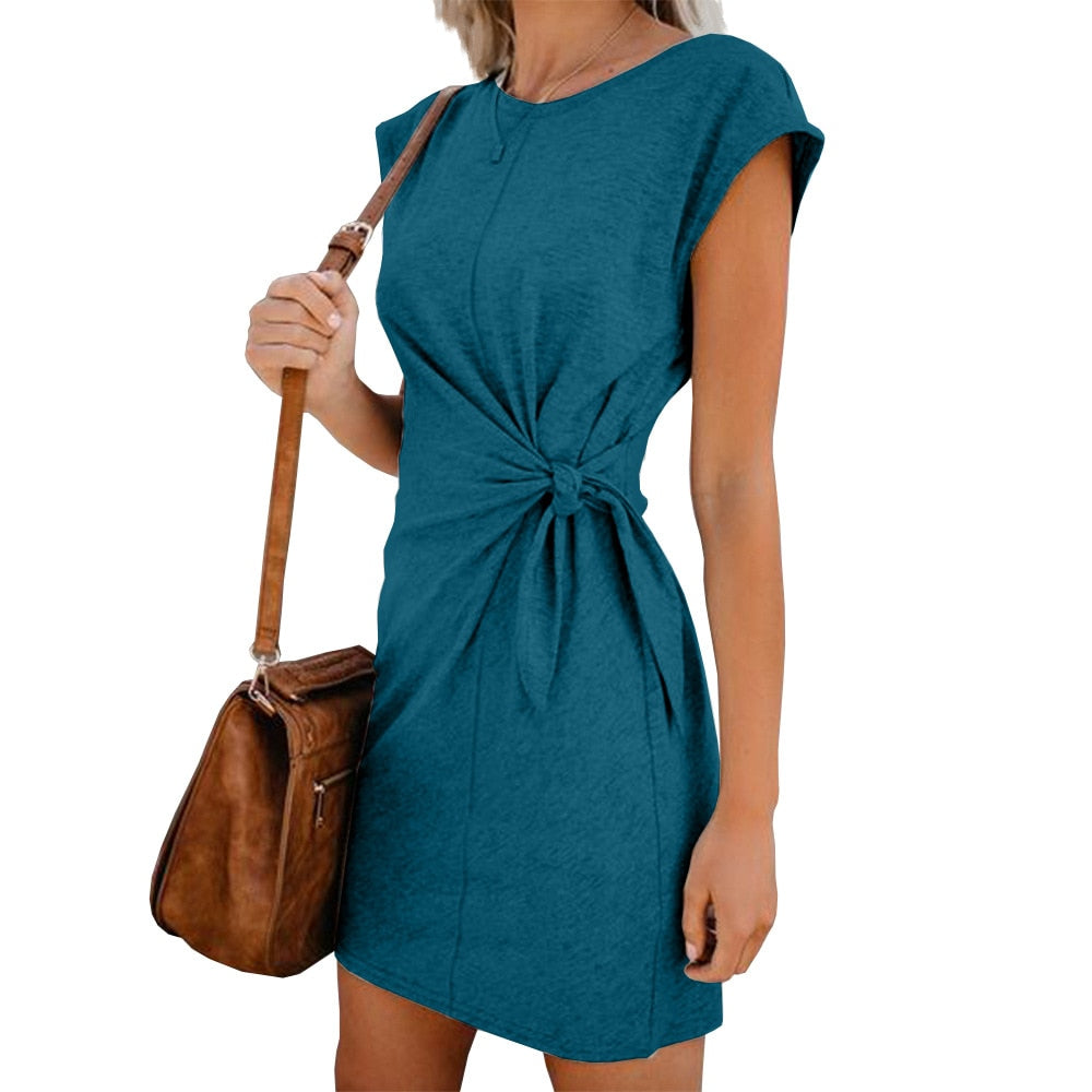 STYUNI round neck loose short-sleeved strap dress urban casual solid color dress comfortable slim summer women's dress